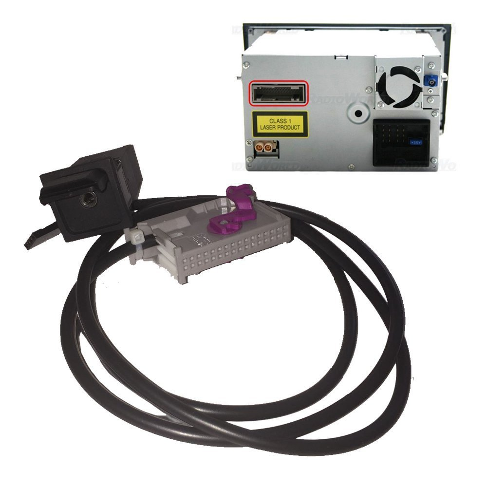 HONGQI KIT RNS-E - Cable de entrada AUX de 3,5 mm para AudiNavigation Plus A3 A4 A6 A8 TTR8 AUX Socket RNA RNS-E TV tuner, RSN-E 32 pines A/V conector, 1J0 972 977 G (Tyco) HQ