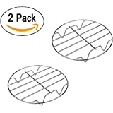 Bamboo's Grocery 7 Inch Cooking Rack Round 304 Stainless Steel Baking and Cooling Steaming Rack w Stand Cookware Fit for Air Fryer Instant Pot Pressure Cooker Canning Set of 2
