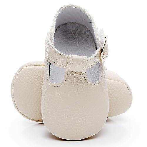 42ca492ae2f54 HONGTEYA Baby Girls Pure T-Strap Moccasins - Newborn First Walker Mary Jane PU  Soft