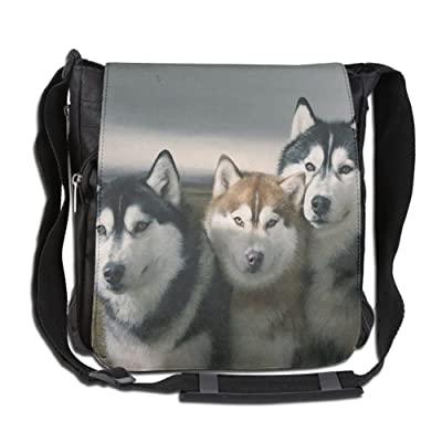 Men Women Classic Siberian Husky Family Messenger Bag Casual Crossbody Bag Shoulder Bag College Bag For Outdoor Workout Travel