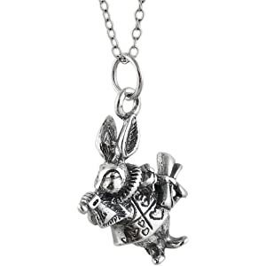 White Rabbit From Alice In Wonderland .925 Solid Sterling Silver Charm Pendant