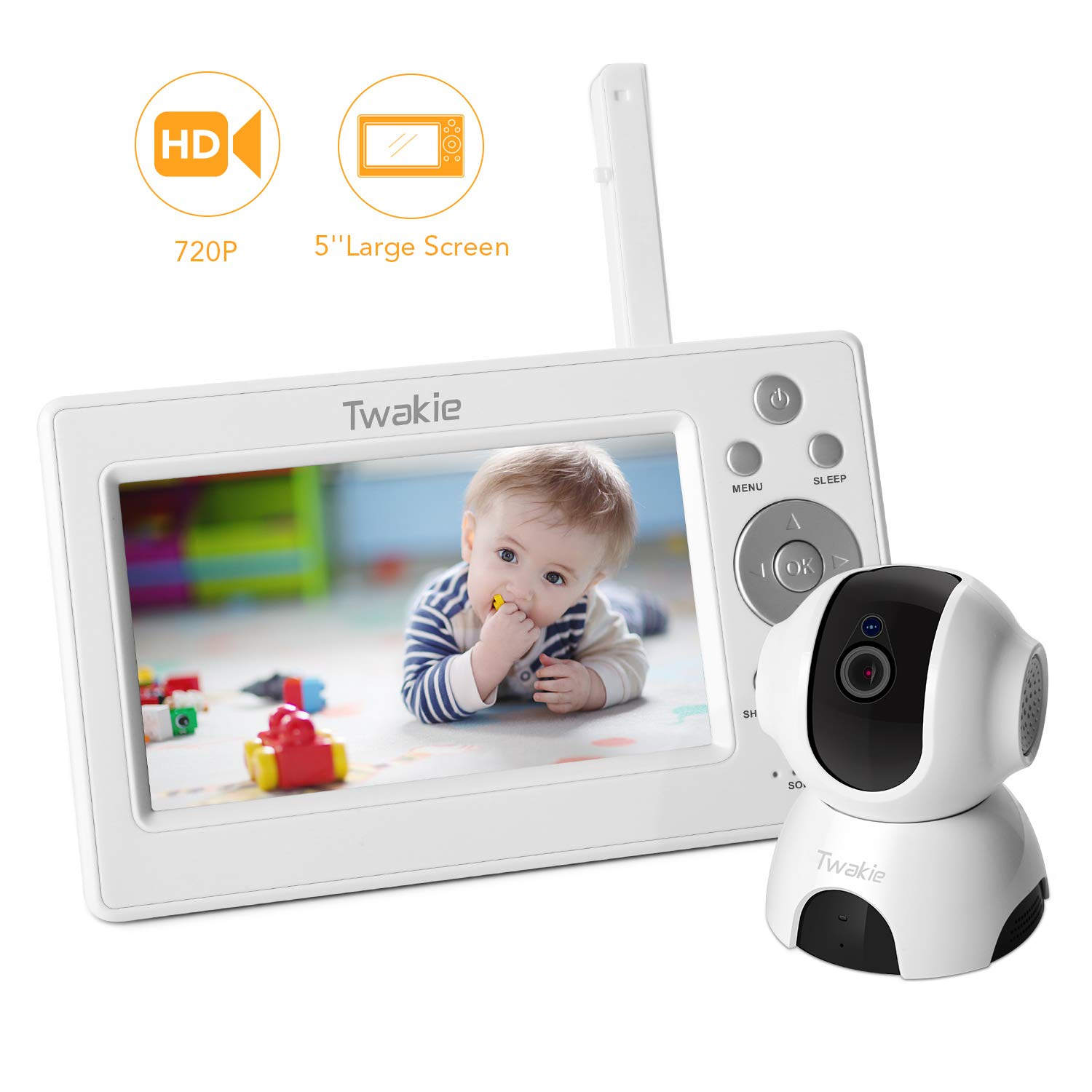 Video Baby Monitor with Large 5' HD LCD Display 720P Digital Camera,Infrared Night Vision,Temperature Sound Monitoring, Two Way Audio, 5Lullabies,960ft Far Long Range Twakie