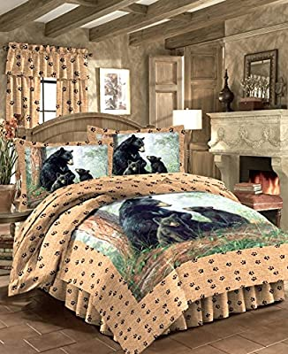 "BLACK BEAR FAMILY Wild Life Bedding Lodge Cabin 3pc TWIN SIZE Comforter (63"" x 86"") Set w/1-Sham and Bedskirt"
