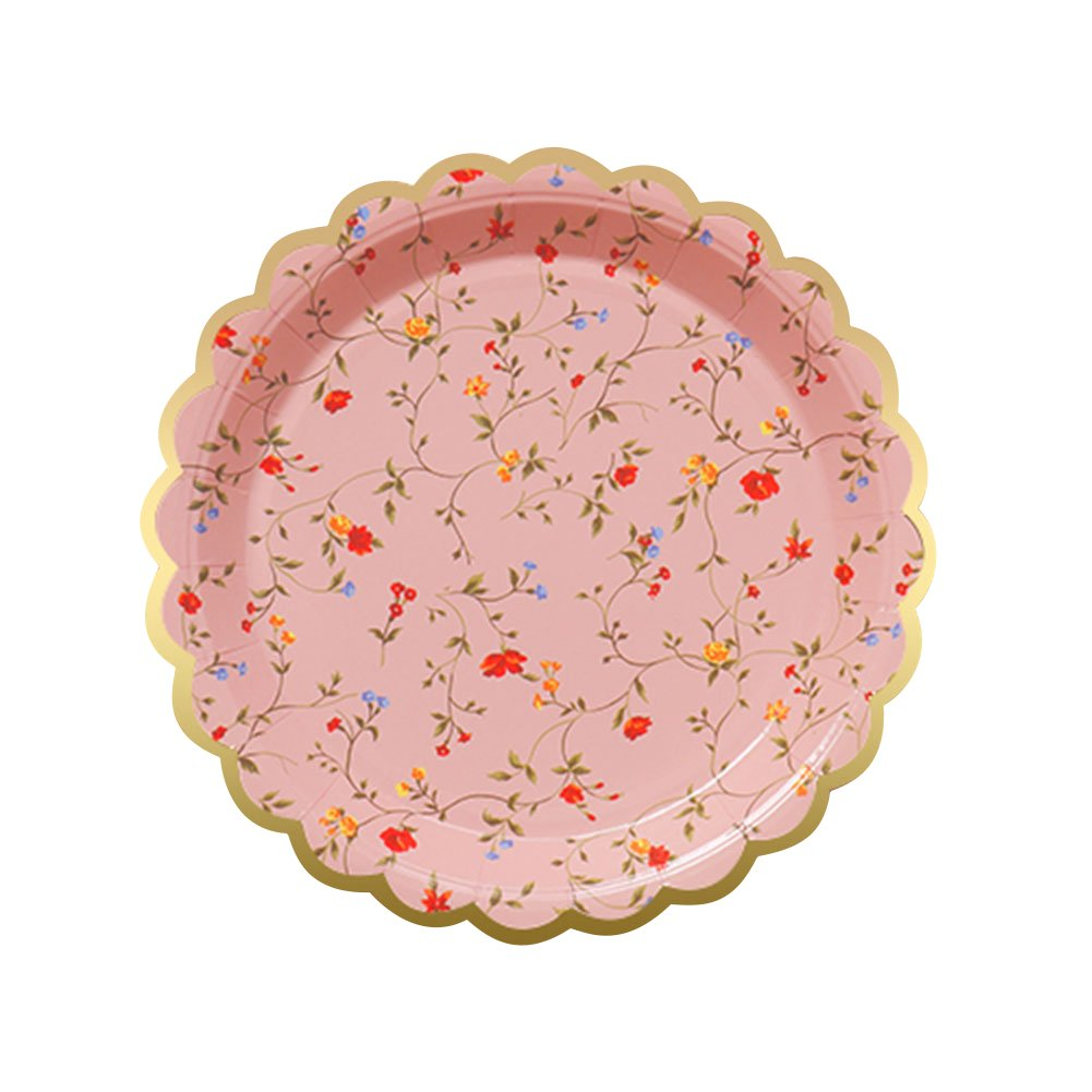 XCXSR 20 pcs Floral Paper Plates Pink Disposable Party Paper Plates,Disposable Party Dinnerware for Wedding Tea Party Birthday Baby Shower Anniversary and Camping