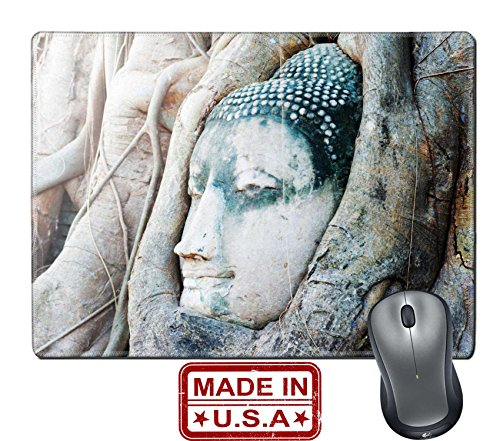 "929 Dining Set (Liili Natural Rubber Mouse Pad/Mat with Stitched Edges 9.8"" x 7.9"" Travel to Thailand Ayutthaya Old tree Buddha stone sculpture Wisdom and pray IMAGE ID 31202973)"