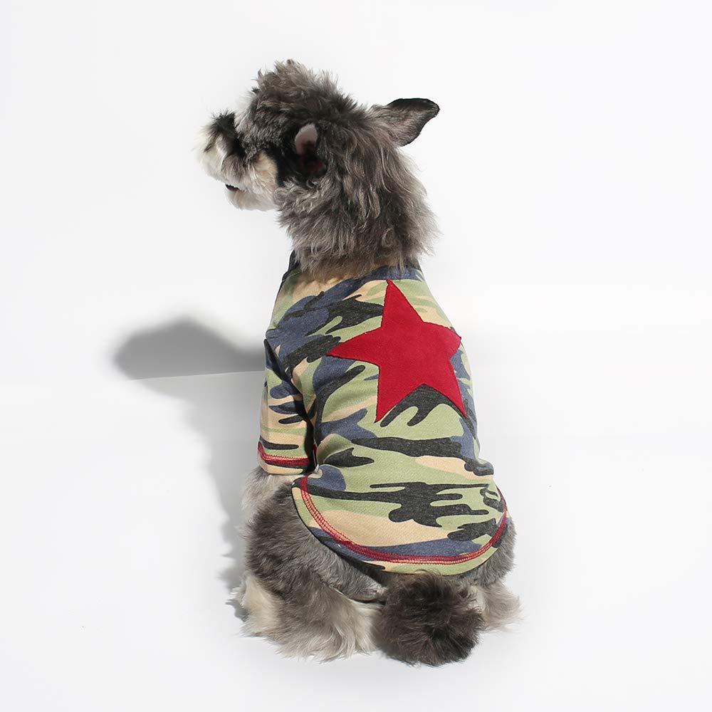 Light Green M Light Green M Gyapet Red Start Camouflage Pet Shirt Puppy Dog T-Shirt with Red Star Pet Clothing Puppies Doggie Vest Light Green M