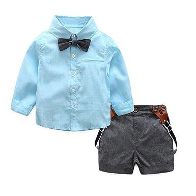 f61290cbff2c7 Infant Baby Boys Summer Clothes Sets 3-24 Months Gentleman Suit Bow Tie  Shirt Suspenders