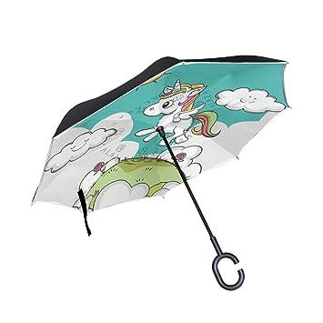 FANTAZIO Paraguas invertido Unicornio Sunshine Doble Capa protección UV reversa Paraguas Auto-Stand C Forma