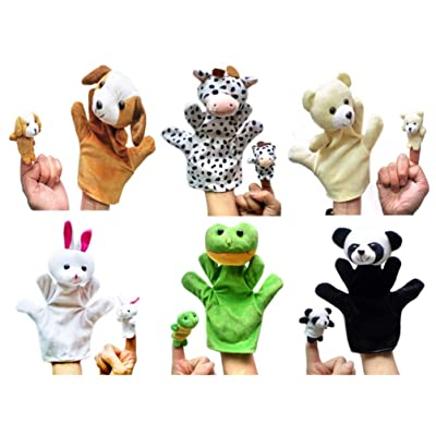 NUOBESTY Hand Puppets Cartoon Animal Plush Hand Puppets 6PCS Story Telling Puppets for Children Imaginative Play Stocking Stuffer Birthday Party Favor Supplies: Health & Personal Care