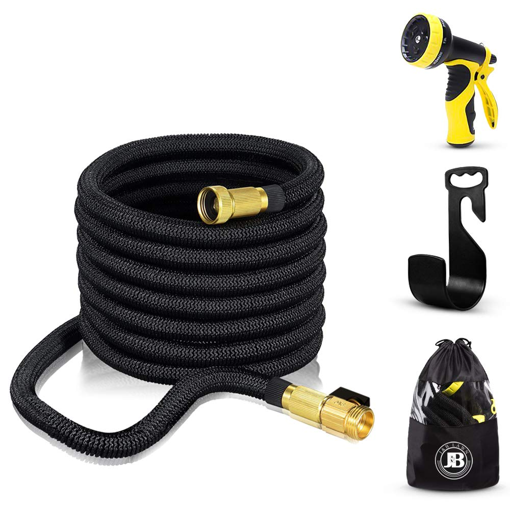 XpandaHose 75ft Expandable Water Garden Hose with Holder - Heavy Duty Triple Layered Latex Core and Free 10 Spray Nozzle with Storage Bag - Light Weight Flexible and Solid Brass Ends