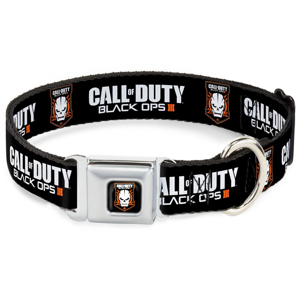 1.5\ Buckle-Down Seatbelt Buckle Dog Collar Call of Duty-Black OPS III Skull Icon Black White orange 1.5  Wide Fits 18-32  Neck Large