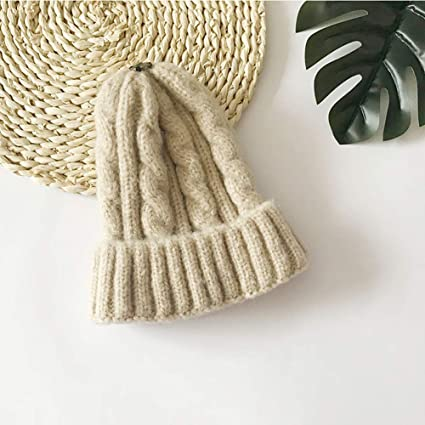61fe5bd4489 Amazon.com   NOMSOCR Kid Baby Soft Solid Color Knitted Hats Toddler Infant  Winter Warm Hat Babies Caps (Beige)   Garden   Outdoor