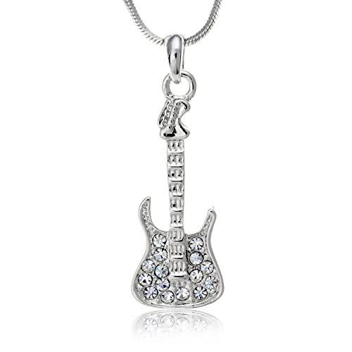 Amazon Com Pammyj Silvertone Crystal Guitar Necklace 17 5 Guitar