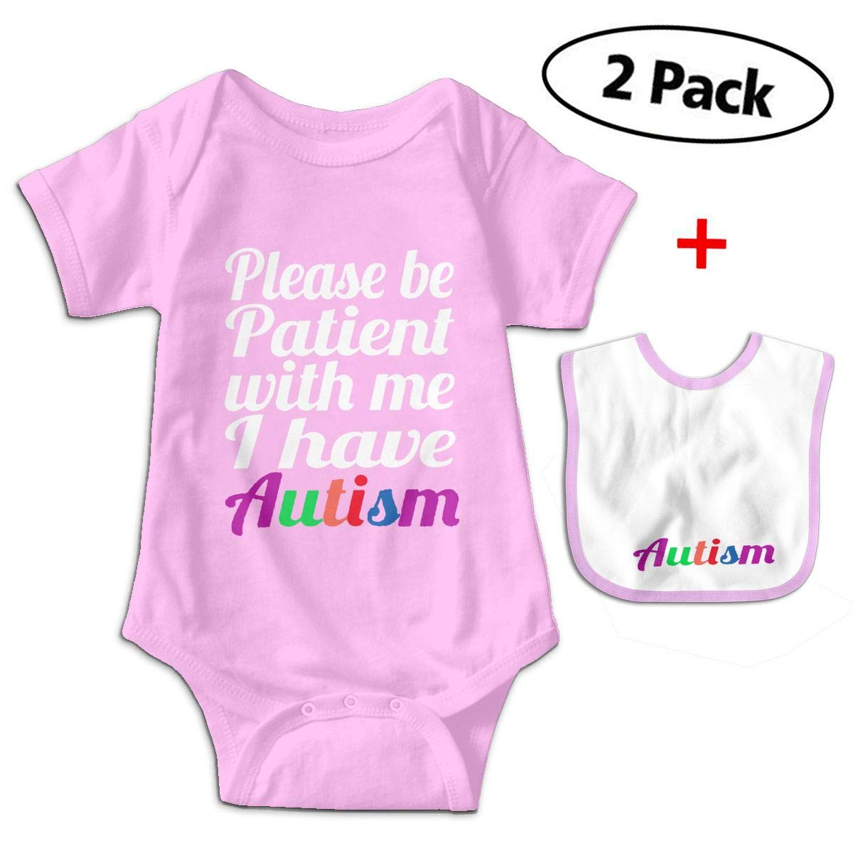 KAYERDELLE Be Patient with Me I Have Autism Babys Kids Short Sleeve Jumpsuit Outfits for 3-24 Months and Baby Bib