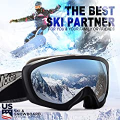 Specifications:Lens Size: 7 inches (W) x 3.6 inches (H)Lens Material: PC + UVFrame Material: TPU****WHY CUSTOMERS LIKE TO USE OUR SKI GOGGLES?****Our Advantage.1# : Anti-winds to keep your eyes warm.Our Advantage.2# : Anti-fog and two way ven...