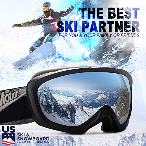 JK MOTION Ski Goggles-Anti Fog Snow Goggles-100% UV Protection,Goggles Ski/Snowboard Goggles for Men,Women&Youth