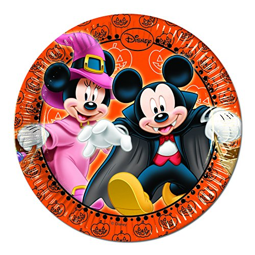 Disney Junior Unique Party 71661 - 20cm Mickey Mouse Halloween Party Plates, Pack of 8