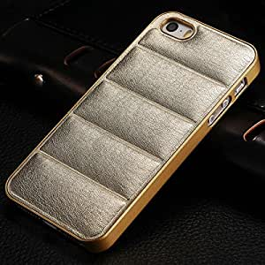 10 pcs/lot For Apple iPhone 5 5s 5g Vintage Hard Case PU Leather Back Plastic Frame Mobile Phone Bag Cover Black Brown Wholesale --- Color:champagne gold