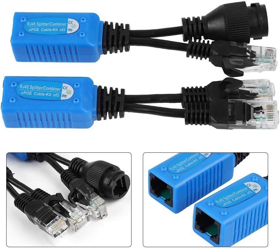 2pcs Splitter RJ45 Combiner POE Adapter Connectors Power Cable Kit POE Adapter Cable Connectors Passive Power Cable