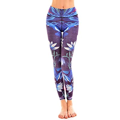 Trendy Blue Night Lotus Print Yoga Leggings Fitness Butt Lif High Waisted Yoga Pants For Gym Sports