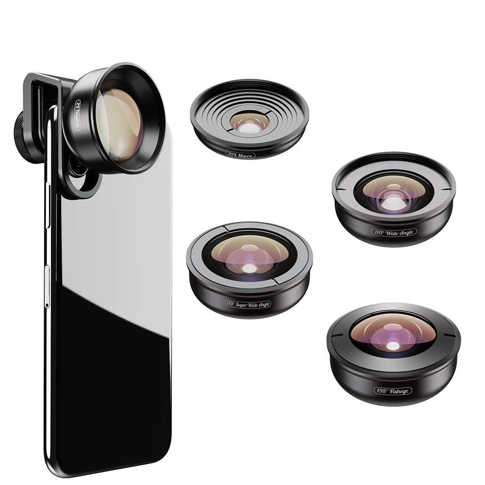 ANDE 195 Degree fisheye Lens, 0.6X Wide-Angle Lens, 10x Macro Lens, 170 Degree Wide-Angle Lens,2X telephoto Lens 5 in 1 Professional Camera Lens Kits by ANDE