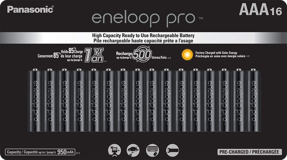 Panasonic BK-4HCCA16FA eneloop pro AAA High Capacity Ni-MH Pre-Charged Rechargeable Batteries, 16 Pack by eneloop