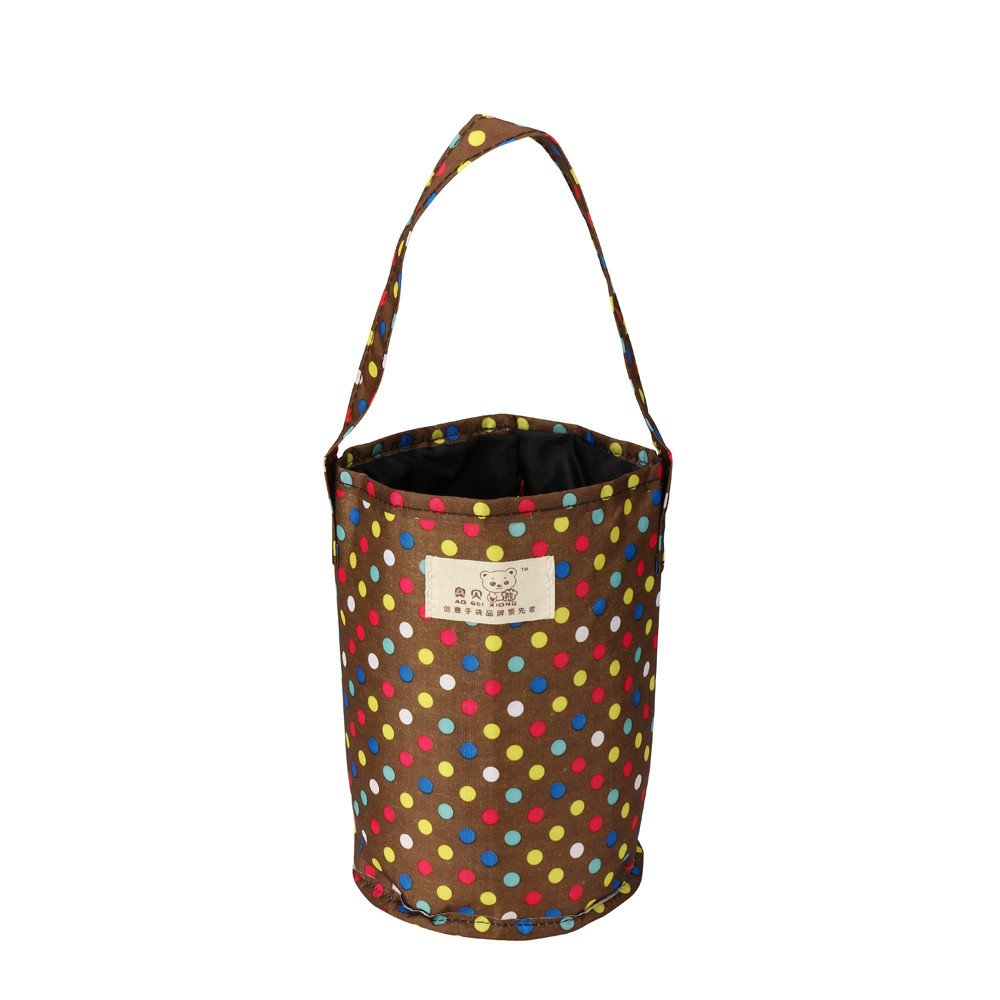 KingWo Oxford Thermal Insulated Tote Lunch Box,Cooler Bag Bento Pouch Lunch Container Dot Printed (C)