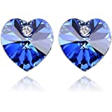 Heart Shaped Swarovski Element Crystal Stud Earrings Fashion Jewelry for Women