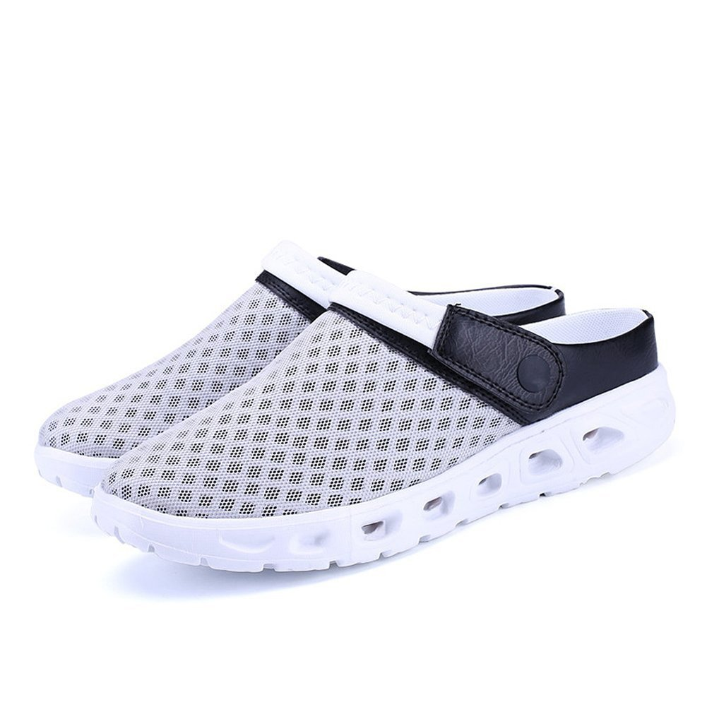 CCZZ Men's and Women's Summer Breathable Mesh Beach Sandals Slippers Quick Drying Water Shoes Amphibious Slip On Garden Shoes B07BW7WBSX US 10.5=EU 45|Gray White