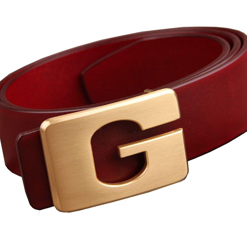 Menschwear Men's Belt Grain Leather Waistband with Copper Slide Buckle 38MM Red 110cm