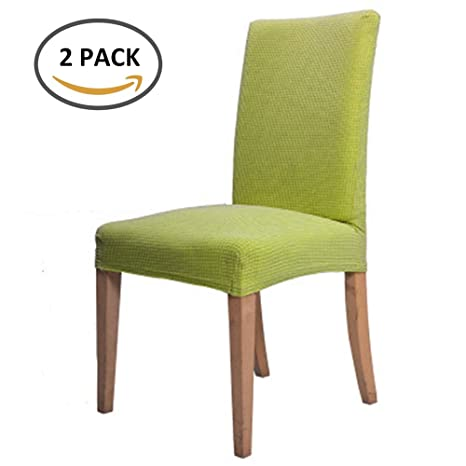 Scorpiuse Jacquard Stretch Dining Chair Covers Spandex Room Chairs Slipcover Protector Green Set