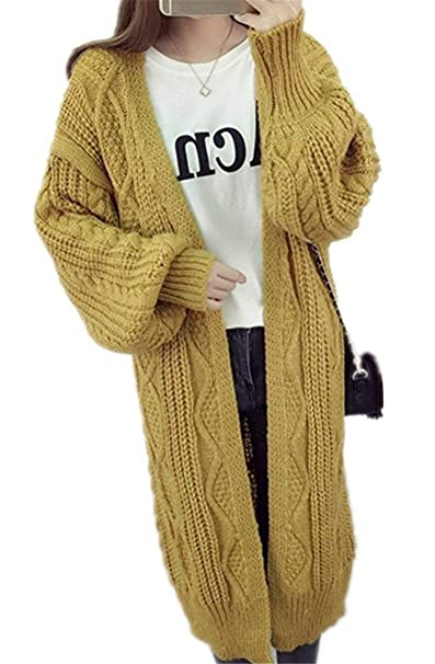 a4f2a241e Mujer Abrigo Tejido Largos Elegantes Primavera Otoño Casuales Manga Largo  Abierto Sweater Abrigos Clásico Vintage Moda Relaxed Pullover Outerwear Niña  ...