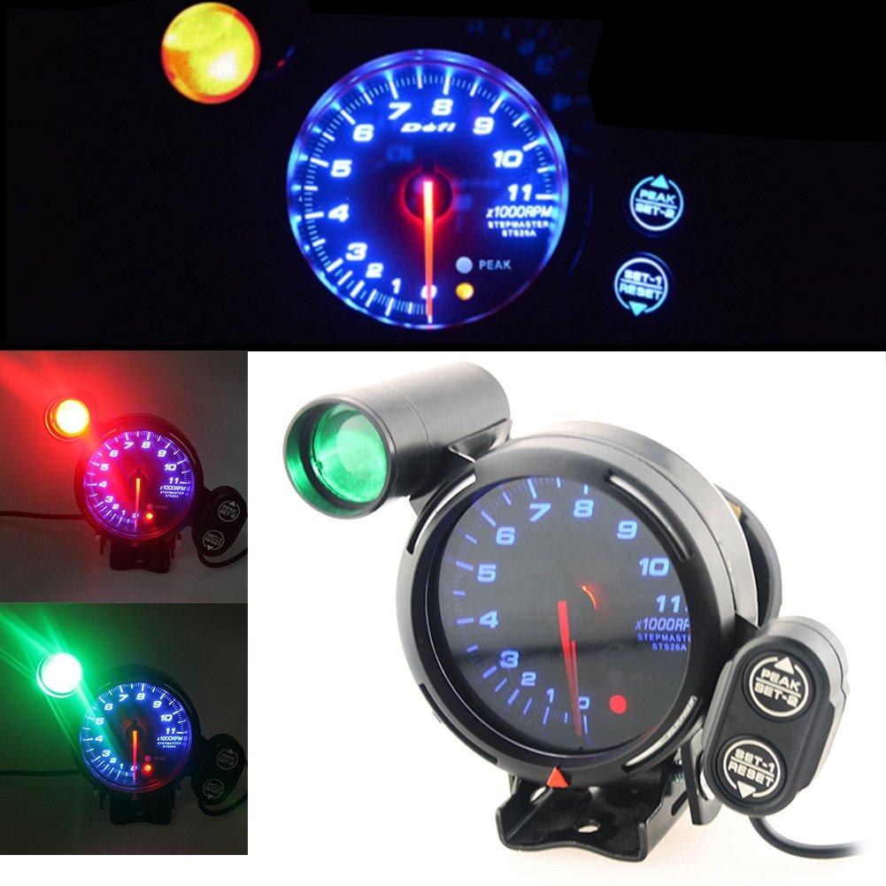 Anauto 3.75 Inch 12V Car Tachometer Gauge Kit 11000 RPM Blue LED with Shift Light