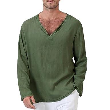 Ankola Shirt Mens V Neck Slim Fit Contrast Color Stitching Long Sleeve Casual T-Shirts