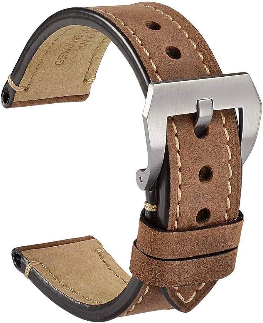 WOCCI Correa Reloj Vintage de Cuero Genuino, Correa de 18mm 20mm ...