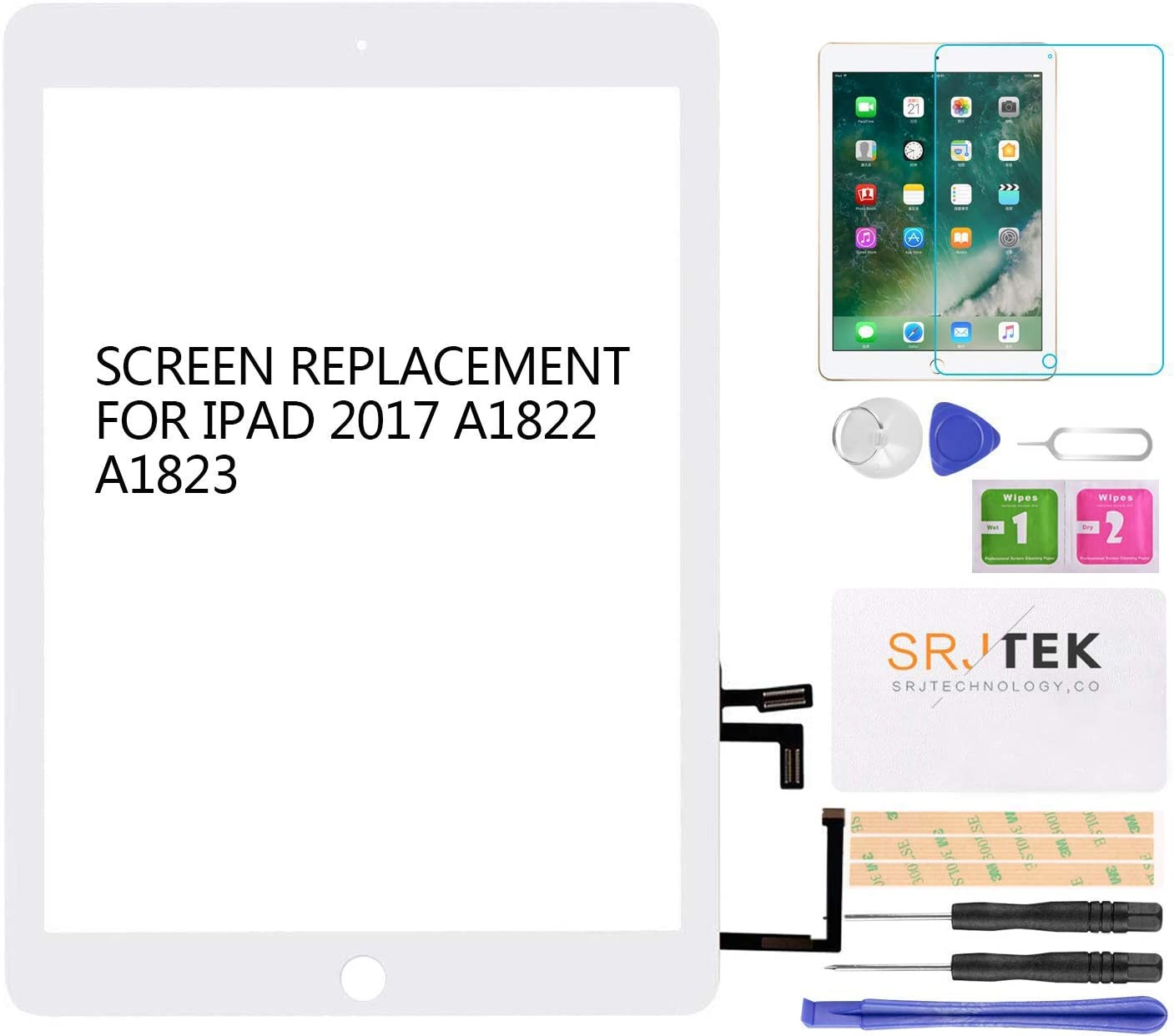 SRJTEK for IPad 2017 A1822 A1823 9.7 Touch Screen Front Panel Replacement Glass Assembly Repair Parts (NO LCD, NO Instructions,Without Home Button)+ Tools+Tempered Glass(White