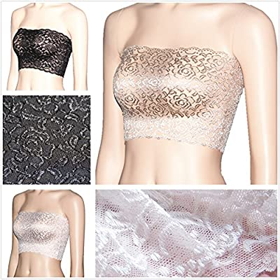 Women's Plus Size Floral Lace Unlined Stretchy Strapless See Through Bandeau Tube Top