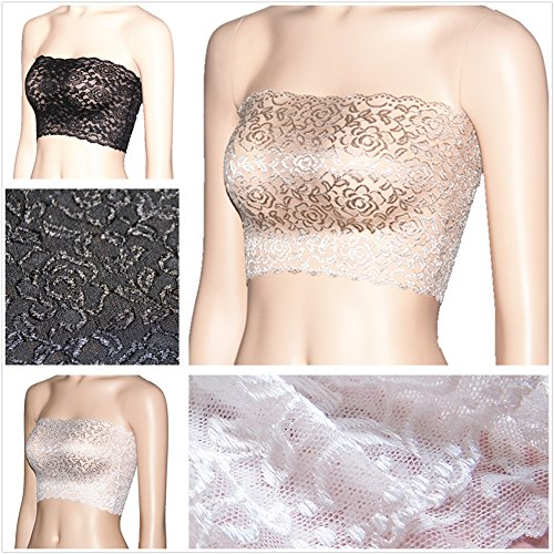 6d62f2b494f CENG MAU Women Plus Size Floral Lace Unlined Stretchy Strapless Bandeau Tube  Tops See Through Bras