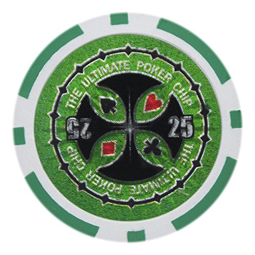 - Brybelly Laser Inlay Poker Chips Heavyweight 14-gram Clay Composite - Pack of 50 ($25 Green)