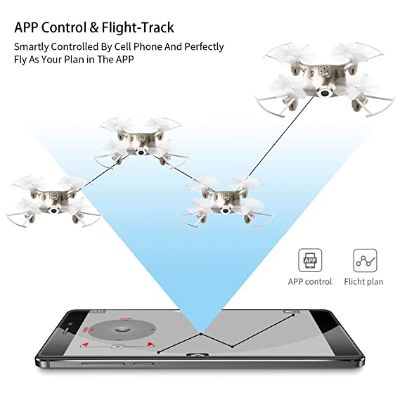 Kiditos Syma X21W Mini FPV Drone with WiFi Camera with Flight Plan, Altitude Hold, 3D Flips, Headless Mode, One Key Take-Off/Landing, (Gold)