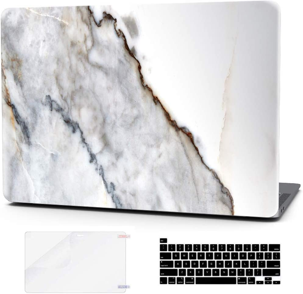 Laptop Case for MacBook Pro 16 Inch Keyboard Cover Plastic Hard Shell Touch Bar 3 in 1 Bundle with Screen Protector for Mac Pro 16 '' (A2141),Lime White Marble