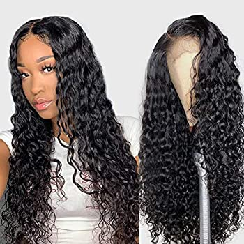 Image of Alibeauty Human Hair Lace Front Wigs For Black Women 150% Density 9A Brazilian Water Wave Lace Front Wigs Human Hair Pre Plucked Bleached Knots with Baby Hair Natural Hairline Wigs(20 Inch)