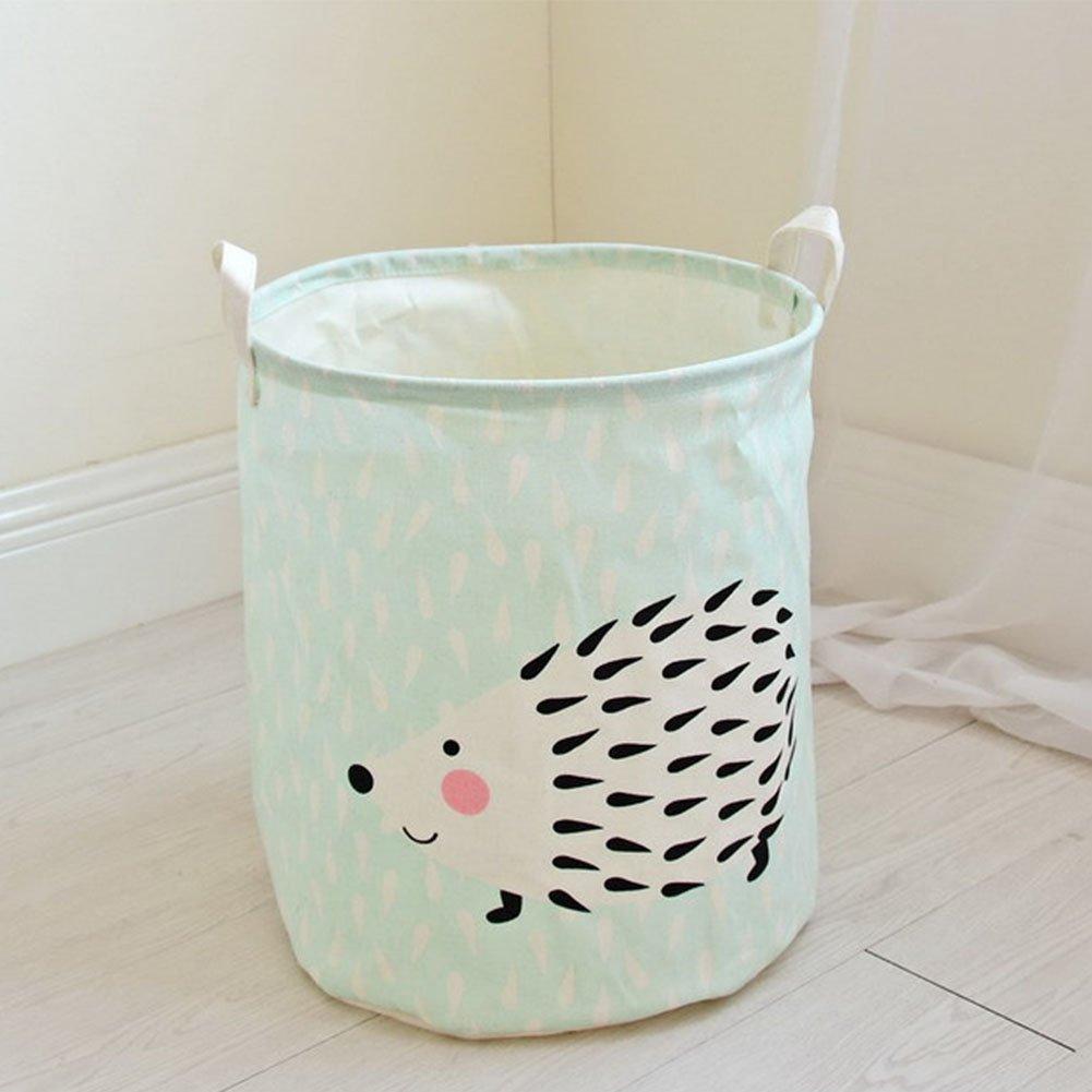 YiuswoyHousehold Storage Bin Cotton Linen Laundry Storage Basket to Organize Office, Bedroom, Closet, Kid's Toys, Laundry Hamper - Hedgehog