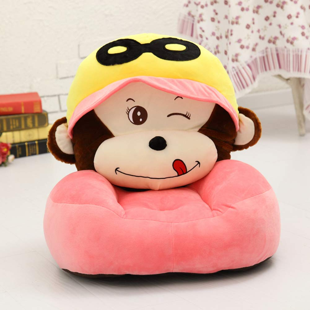 WAYERTY Orangutan Children Sofa, Kid Chair Stuffed Toy Bean Bag Cute Soft Couch for Toddler Infant Baby, Birthday Gifts for Boys Girls-Pink W50xH50cm(20x20inch)