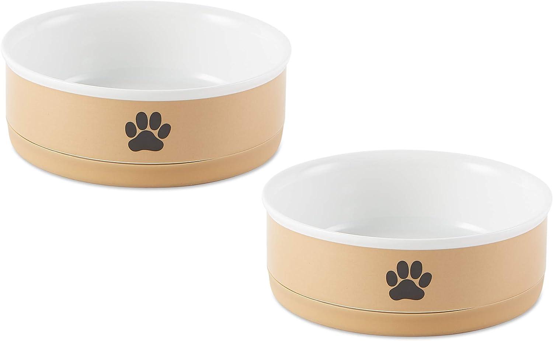 Bone Dry Ceramic Pet Collection, Medium Bowl Set, Taupe Paw 2 Count