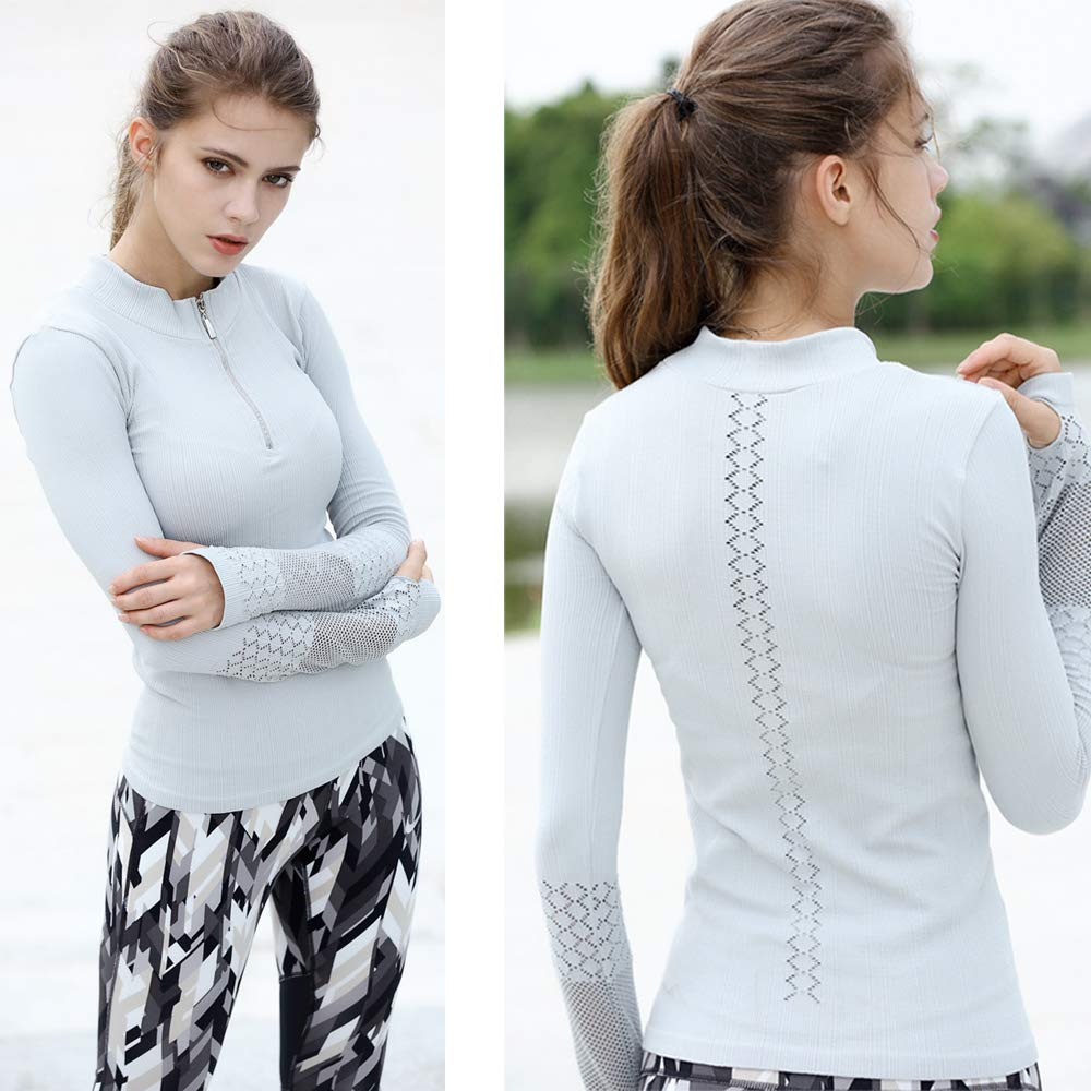 Womens 2-Piece Yoga Gym Sports Long Sleeve Top Activewear Set Workout Outfit Tracksuit