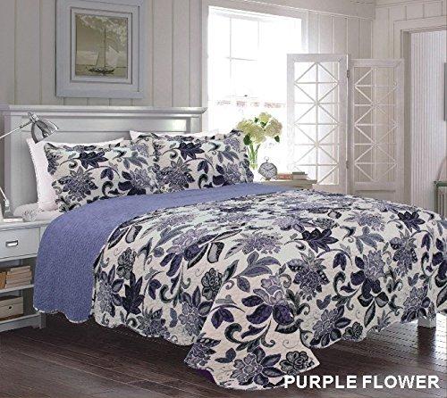 Homemusthaves 3PCS Quilt Set Purple Off White Multi-Color Modern Floral Design Quilt Bedspread Bed Coverlet (King)