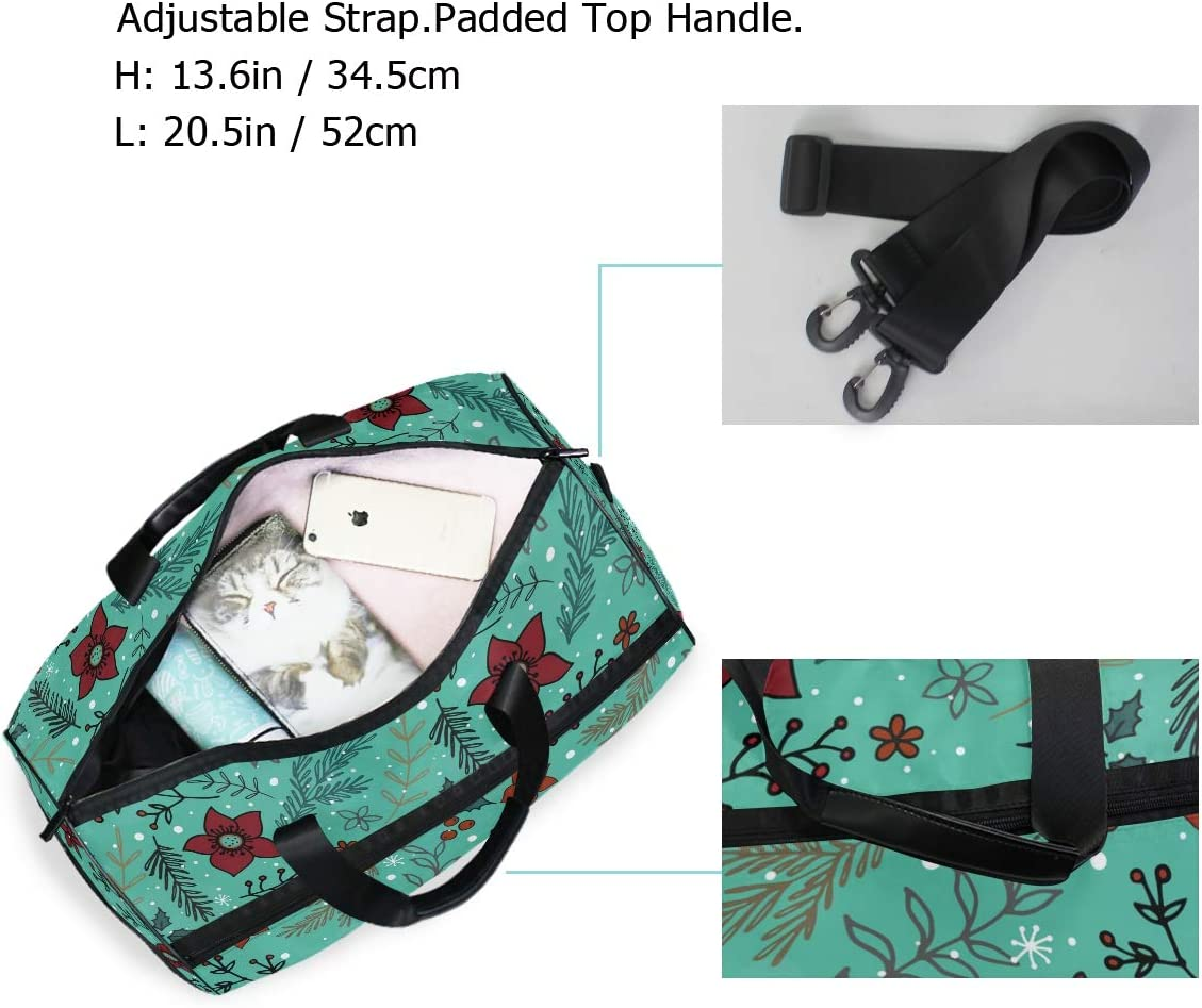 FAJRO Gym Bag Travel Duffel Express Weekender Bag Christmas Snowflake And Flowers Carry On Luggage with Shoe Pouch