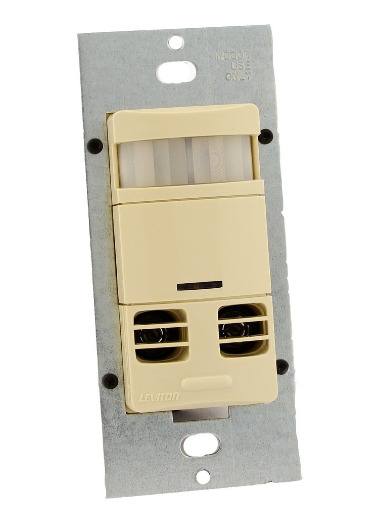 Leviton OSSMT-GDI Ultrasonic/Infrared, Multi-Technology Wall Switch Sensor, No Neutral, 2400 sq. ft. Major & 400 sq. ft. Minor Motion Coverage, Ivory