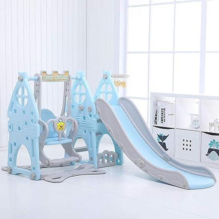 Centro de juegos de diapositivas,juguetes de jardín de infantes,toboganes de interior para niños,toboganes para bebés multifuncionales en azul,con aro de baloncesto y pelota para mayores de 2 años: Amazon.es: Hogar
